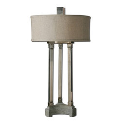 Silver Nest - Tri Column Table Lamp - Lightly antiqued brushed aluminum with a concrete base. The round hardback drum shade is an oatmeal linen fabric with natural slubbing. Maximum Wattage 60. 2 Bulbs.