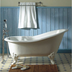 Herbeau Creations Marie Louise Cast Iron Claw Foot Bath Tub - 61 Inch Cast Iron Claw Foot Bath Tub with No Faucet Drillings