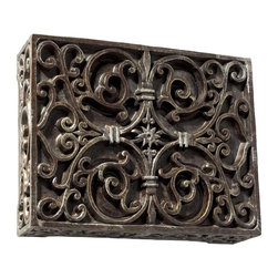 Craftmade - Carved Box Doorbell - Elaborately Carved Scroll Work Design on Cabinet. Chime Finish: Hand-Painted Renaissance Crackle (RC). Sound: 2 Notes on Front Door/Single Note on Second Door. Transformer Required: 16 Volt. Requires (Existing or New) - Push Button, Wiring, and Transformer. Hanging Position: Horizontal/Vertical. Bushbutton Light: . Height: 6.75 in.. Width: 8.5 in.. Depth: 2.5 in.. Recessed: No