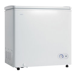 Danby - 7.0 Cu.Ft. Chest Freezer, 1 Basker, Up Front Temperature Control - The Danby DCF700W1 7.0 Cu. Ft. Chest Freezer, in white, features an easily adjustable front mount mechanical thermostat and energy efficient foam insulated cabinet and lid. This chest freezer has a spacious capacity. Enjoy an in-wall condenser for easy clean maintenance, and a rounded lid design for modern styling. The metal cabinet with clean lines compliments any area of the home, and the rust resistant Interior provides long lasting durability. There is a defrost drain for an easy to clean interior, and rear casters for ease of positioning.7 cu. ft. (198.2 litres) capacity chest freezer|Energy efficient foam insulated cabinet and lid|Manual defrost|One vinyl-coated basket|Easy clean interior liner|Rounded lid design|Defrost drain|Front mount mechanical thermostat|Color: White|  danby| dcf700w1| 7.0cf| 7.0 cu.| ft.| cu| ft| capacity| chest| freezer| storage| basket| white  Package Contents: chest freezer|storage|basket|manual|warranty  This item cannot be shipped to APO/FPO addresses