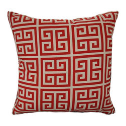 Greek Key Red Accent Pillow - Living Spaces