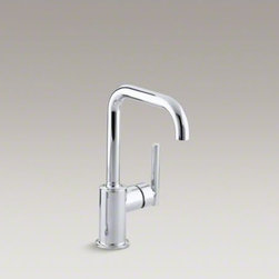 "KOHLER - KOHLER Purist(R) single-hole kitchen sink faucet with 6"" spout - Designed to accommodate an extra-thick counter, this Purist bar sink faucet combines a strong architectural form and simple-to-use features. The high-arch swing spout maneuvers easily around large cookware, while the side lever handle controls temperature"