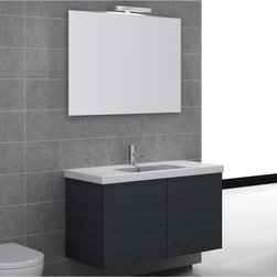 Iotti - 39 Inch Bathroom Vanity Set - A full sized vanity set with all the style and performance you expect from Italian craftsmen. Available in Glossy White, Wenge and Gray Oak finishes with E1 Ecological paneling for strength and safety in your home environment. The solid ceramic fitted sink has plenty of space for toiletries around the centered basin. The five layered high-tech mirror comes with a vanity light and is resistant to scratching and corrosion. Ample storage space is easily accessed through the double, soft closing doors. Set Includes: . Vanity Cabinet (2 doors). Fitted ceramic sink (39.4 inch x 2 inch x 18 inch ). Mirror (38.3 inch ). Vanity Light. Vanity Set Features:. Vanity cabinet made of engineered wood. Cabinet features waterproof panels. Available in Gray Oak (as shown), Glossy White, Wenge. Cabinet features 2 doors. Faucet not included. Perfect for modern bathrooms. Made and designed in Italy. Includes manufacturer 5 year warranty.