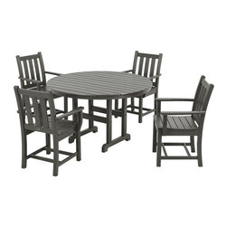 Polywood - 5-Piece Eco-friendly Round Dining Set - Solid, heavy-duty construction withstands natures elements. Whether you're creating ambience for an intimate dinner or laid-back comfort for a casual get-together, you will want to include the Polywood Traditional Garden 5-Piece Dining Set in your plans. This charming set adds style and grace to any outdoor dining and entertainment space. The set is built for durability and lasting good looks with solid Polywood recycled lumber that features the appearance of painted wood without all of the maintenance wood requires. Polywood lumber requires no painting, staining, waterproofing, or similar maintenance. It does not splinter, crack, chip, peel or rot and it is resistant to corrosive substances, insects, fungi, salt spray and other environmental stresses.