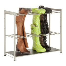 Boot Rack - Honey-Can-Do SHO-02812 6-Pair Boot Rack, Silver. Don't get your wellies in a wad - instead, store them using this unique boot rack from Honey-Can-Do! Designed to hold six pairs of your favorite boots, this rack gives them plenty of room to dry off when wet. A steel frame ensures your boots will stay in place, and a brilliant silver finish gives this rack a contemporary look that will pop in any entryway.