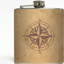 Handmade Compass Flask - You never know when you might need to BYOB. Carry around your spirits in this stainless steel flask adorned with an image of a compass rose, or give it as a gift���this charming flask pleasantly holds six ounces of your preferred libation.