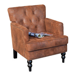 Great Deal Furniture - Medford Brown Fabric Club Chair - The Medford Beige Club Chairs tufted back, studded accents and hand carved legs provide an elegant look for any room. Upholstered in brown fabric, the neutral color will match your existing decor and you can enjoy this chair in any room.