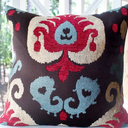 Gold Red Raspberry Brown Blue Modern Embroidered/Velvet Damask Pillow Cover - Etsy