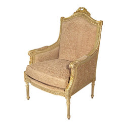 MBW Furniture - French Antiqued White Beige Upholstered Arm Chair - Solid Wood Frame