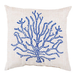 """Cobalt and Cream Coral Pillow - 18"""" x 18"""" - Printed on patterned, linen-colored polyester that's soft yet safe for outdoor use, the line drawing of a natural specimen that adorns the Cobalt Coral Pillow is a dramatic just-enough addition of deep blue tones.  The pitted exterior and branching lines that make this popular motif feel so naturally exquisite are beautifully captured by the sketch used for this pillow."""