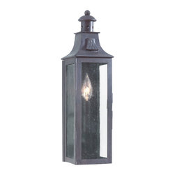 Troy Lighting - Newton Outdoor Wall - Newton Outdoor Incandescent Wall Lantern is made from hand forged iron framework with an Old Bronze finish and Clear seeded glass. Available in 3 sizes. Small: One 60 watt, 120 volt B10/Candelabra Incandescent bulb is required, but not included.  5 inch width x 17.5 inch height x 5 inch depth. Medium: Two 60 watt, 120 volt B10/Candelabra Incandescent bulbs are required, but not included.  8.75 inch wide x 19.5 inch height x 5.5 inch depth. Large: Three 60 watt, 120 volt B10/Candelabra Incandescent bulbs are required, but not included.  11 inch wide x 23.75 inch height x 7 inch depth.