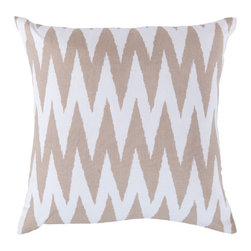 Surya Rugs - 18-Inch Square Safari Tan and White Striped Cotton Pillow Cover with Poly Insert - - 18 x 18 100% Cotton Pillow Cover w/ Poly Insert.   - For more than 35 years, Surya has been synonymous with high quality, innovation and luxury.   - Our designers have masterfully created some of the most cutting edge and versatile pieces to bring out the best in every room.   - Encompassing their expert understanding of the latest trends in fashion and interior design, each product is a perfect combination of color, pattern and texture to accommodate the widest range of tastes.   - With Surya, the best in design and quality is at your fingertips.   - Pantone: Safari Tan, White.   - Made in India.   - Care Instructions: Spot Clean.   - Cover Material: 100% Cotton.   - Fill Material: Poly Fiber. Surya Rugs - LG527-1818P