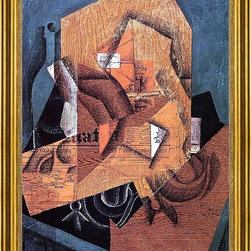 """Juan Gris-16""""x24"""" Framed Canvas - 16"""" x 24"""" Juan Gris The Packet of Coffee framed premium canvas print reproduced to meet museum quality standards. Our museum quality canvas prints are produced using high-precision print technology for a more accurate reproduction printed on high quality canvas with fade-resistant, archival inks. Our progressive business model allows us to offer works of art to you at the best wholesale pricing, significantly less than art gallery prices, affordable to all. This artwork is hand stretched onto wooden stretcher bars, then mounted into our 3"""" wide gold finish frame with black panel by one of our expert framers. Our framed canvas print comes with hardware, ready to hang on your wall.  We present a comprehensive collection of exceptional canvas art reproductions by Juan Gris."""
