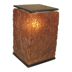 None - Paris Bed Side Table/ Lamp - Made from a combination of sturdy resin and wicker this bedside table/lamp is finished with a hardwood table top and a hardwood base. Combining style with function,this table creates a soothing mood in any room while providing a table for lost space.