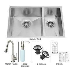 "Vigo - Vigo All in One 29 Undermount Double Bowl Kitchen Sink and Faucet Set (VG15183) - Vigo VG15183 All in One 29"" Undermount Double Bowl Kitchen Sink and Faucet Set, Stainless Steel"