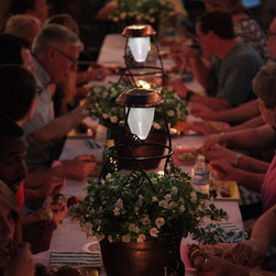 Solar-Powered Outdoor Lighting - SolaRadiance makes the perfect accent piece to any outdoor tablescape.