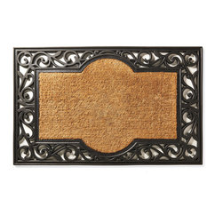 """Frontgate - Fairfax Non-Monogrammed Entry Mat - Quickly whisks dirt and debris away from shoes. Natural coir fibers are handwoven into a dense pile for ultimate durability. Absorbs moisture while resisting mold and mildew. Fade-resistant dye. Available with a single initial. A handsome scrollwork design frames the splendidly simple monogram on our Fairfax Entry Mat. Durable coco fibers scrub dirt and debris from shoes, while the all-weather rubber border helps keep the mat in place. Monogram is hand-stenciled on in black UV-resistant dye.  .  .  .  .  . 1"""" thickness . View complete care instructions. Please note: Personalized items are nonreturnable. Imported."""