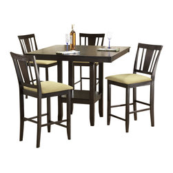 Hillsdale - Hillsdale Arcadia 5-Piece Square Counter Height Dining Table Set - Hillsdale - Dining Sets - 4180DTBSG - The Hillsdale Arcadia Dining Table Set is constructed of hardwoods climate controlled wood composites and veneers in a deep espresso finish. The dining table features a square wood top and an extra storage shelf underneath. The counter stools feature beige faux suede seat cushions and a comfortable slatted back. With transitional design elements and sophisticated square tapered legs the Arcadia Dining Table Set will fit comfortably in your kitchen or dining room.