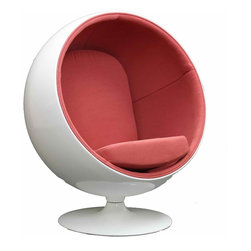MODERN BALL SHAPED PINK LOUNGE CHAIR INSPIRED BY EERO AARNIO DESIGN - MODERN BALL SHAPED PINK LOUNGE CHAIR INSPIRED BY EERO AARNIO DESIGN