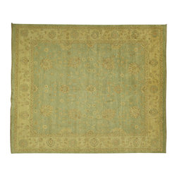 Manhattan Rugs - Original Hand Knotted Wool Pakistan Washed Out Mantis Green Chobi Rug H5993 - Chobi Rugs