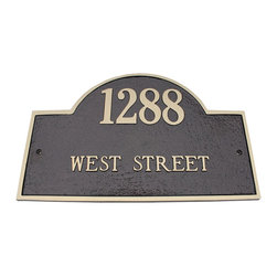 Solid Brass Arch Marker Address Plaque - The Solid Brass Arch Marker Address Plaque is hand crafted giving it a quality that is second to none. Manufactured by Majestic in the US, these home address plaques feature a polyester powder coat for outstanding weather protection. Arch Marker home address plaques allow for 2 lines of personalization for your address.