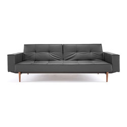 """Innovation"" Splitback Black Leather Textile Sofa Bed / Arms / Dark Wood Legs - Features:"