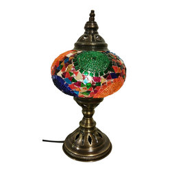 Jay Bazaar - Sundance Large Tribal Mosaic Lamp, Authentic Desk Lamp, Moroccan Style Lamp - Sundance Large