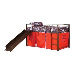 "Acme - Willie Collection Brown Coffee Finish Metal Frame Kids Loft Bed with Slide - Willie collection brown coffee finish metal frame kids loft bed with slide and red tent covering bottom curtains. This set includes the loft bed set with slide and red tent curtain covering. Measures 79"" x 41"" x 46""H. Some assembly required."