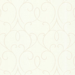 Brewster Home Fashions - Mila White Mini Classical Wallpaper Bolt - A romantic platinum white wallpaper inspired by art nouveau style. Luxurious luminescent swirls create an elegant decor accent.