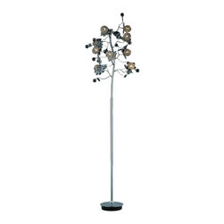 "PWG Lighting / Lighting By Pecaso - Geraldene 9-Light 16"" Crystal Floor Lamp 1763FL16C-EC - The Geraldene Collection adds a touch of whimsy to interiors. Clusters of crystal flowers sparkle on delicately designed chrome finished frames."