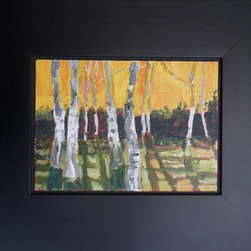 """Birch Trees Gamboge"" (Original) By Matthew Seigel - Lovely Painting Of Birch Trees, Gamboge (Orange) Sunset Glowing Beyond. Acrylic On 5X7X1/8 Panel. Wide Black Floater Frame, With Wire, Felt Bumpers, Ready To Hang. Small Imperfection Top Right Back Corner Of Frame. Not Visible On Wall."