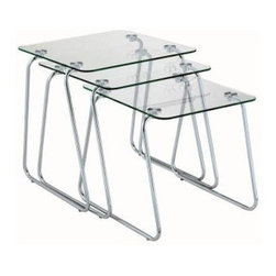Adesso - Adesso Slice Rectangular Nesting End Tables WK2130-22 - Shop for Furniture at The Home Depot. The Adesso Slice Rectangular Nesting End Tables feature chrome-finished, metal legs with tempered-glass tops. The 3 tables have a modern design that accentuates the contemporary style of living rooms, waiting rooms, lobbies and bedrooms. When more space is needed, the tables fit snugly together.