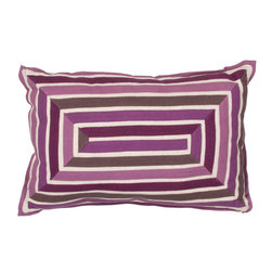 "Jaipur Rugs - Purple/Ivory color cotton encasa08 poly fill pillow 16""x24"" - En Casa is the design collection of Cuban born, Queens, NY raised painter and surface designer, Luli Sanchez. This collection is based off of her painterly works of art that capture an organic and moody yet optimistic spirit. Her geometric paintings were truly inspiring for this pillow collection."