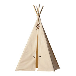 Teepeedees - Kids Teepee - Natural Canvas with Brown Trim, Small - This kid's teepee is iconic in its simplicity, with brown ultrasuede straps, lacing, brass grommets in antique finish and genuine horn buttons. It is the cozy haven for your little pioneers on the frontier.