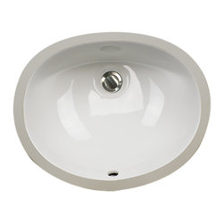 "Nantucket Sinks - Nantucket Sink UM-15x12-W Ceramic Lavatory Sink - Nantucket Sinks UM-15x12-W - 15"" x 12"" Undermount Ceramic Oval Bathroom Sink in White. This sink has a 1.75"" drain diameter."