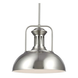 Sea Gull Lighting - Beacon Street Brushed Nickel One Light Pendant - A detailed chimney and sloping dome silhouette give this pendant classic style inspired by French country decor. You'll love the shining steel finish and traditional appointments perfect for any home.