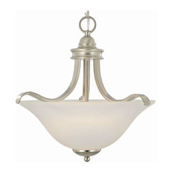 Sanibel Pendant - The flowing arms that frame the frosted glass shade create a clean and contemporary appearance that will fit with almost any home decor.