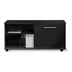 "Jesper Office - Pure Office Low Side Cabinet - Features: -Pure Office collection. -Sturdy. -Metal runners. -Locking castors. -Sliding door. -European design. -Adjustable shelf. -Commercial grade. -5 Year warranty.-Dimensions: 22.5"" H x 47"" W x 19.5"" D."
