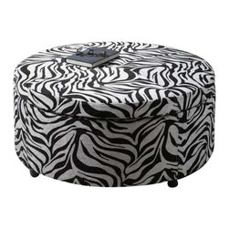 Uttermost Zea Zebra Storage Ottoman - Generous storage with padded, lift-off top suitable for extra seating.  Wooden frame with zebra patterned tapestry and espresso wooden feet. Generous storage with padded, lift-off top suitable for extra seating. Wooden frame with zebra patterned tapestry and espresso wooden feet.