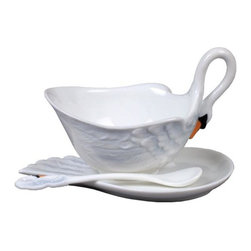 US - 5.75 Inch White Porcelain Swan Coffee Cup Set Spoon Swan Head Handle - This gorgeous 5.75 inch white porcelain swan coffee cup set spoon swan head handle has the finest details and highest quality you will find anywhere! 5.75 inch white porcelain swan coffee cup set spoon swan head handle is truly remarkable.