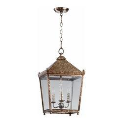Rustic Acid Wash Ranch House 3 Light Hanging Lantern Fixture - *Ranch House II Three Light Lantern