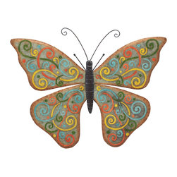 Benzara - Modern and Classic Style Metal Butterfly Wall Home Accent Decor - Description: