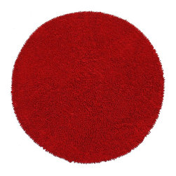 St Croix Trading - Hand-woven Shagadelic Red Chenille Round Rug (5' x 5') - Enhance your home decor with this handmade Shagadelic shag rug. This ultra thick and plush rug is handwoven of chenille using a unique twisting method. This rug features shag pattern in vibrant shade of red.