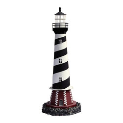 """Decorative Black & White Cape Hatteras Tin Lighthouse Candle Holder - The decorative black  white cape hatteras tin lighthouse candle holder measures 8"""" x 8"""" x 21""""H. This item opens near the base to insert a candle. It will add a definite nautical touch to whatever room it is placed in and is a must have for those who appreciate high quality nautical decor. It makes a great gift, impressive decoration  will be admired by all those who love the sea."""