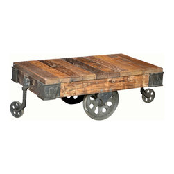 Habitat Home & Garden - Trolly Coffee Table - The Trolly Coffee Table features reclaimed hardwood slats on an industrial iron base. This piece is perfect for your rustic farm house, or downtown loft.