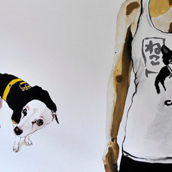 Mamba&Me: The Cat And The Batdog (Original) by Rita Bolla - Painted in New York City, 2010. This is a piece of a full series dedicated to my little rescue-rascall mix, Black Mamba. The painting had been exhibited in NYC in the Trans Euro Gallery, on the Lower East Side.