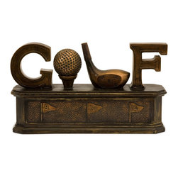 "iMax - iMax Golf Box X-01035 - Bronze-tone ""Golf"" box features a golf ball and club as the ""O"" and ""L"" in the word ""Golf"". This box opens for storage"