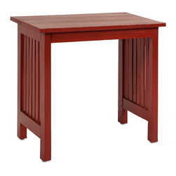 Callisto Wood Side Table - The simple craftsman style Callisto wood side table features a deep red finish and slatted sides.