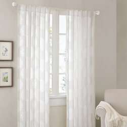 Madison Park - Madison Park Emerson Damask 95-inch Curtain Panel - These damask 95-inch curtain panels will add charm to any window in your home. In your choice of white or chocolate,these lightweight panels feature a sheer design that flows in the breeze,and guests will enjoy the beautiful damask pattern.