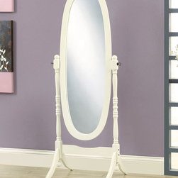 Monarch Specialties - Monarch Specialties 59x23 Oval Cheval Mirror in Antique White - This antique white cheval floor mirror is a lovely addition to your contemporary master bedroom. The functional piece features an oval shaped mirror with swivel motion for adjust ability and convenience.